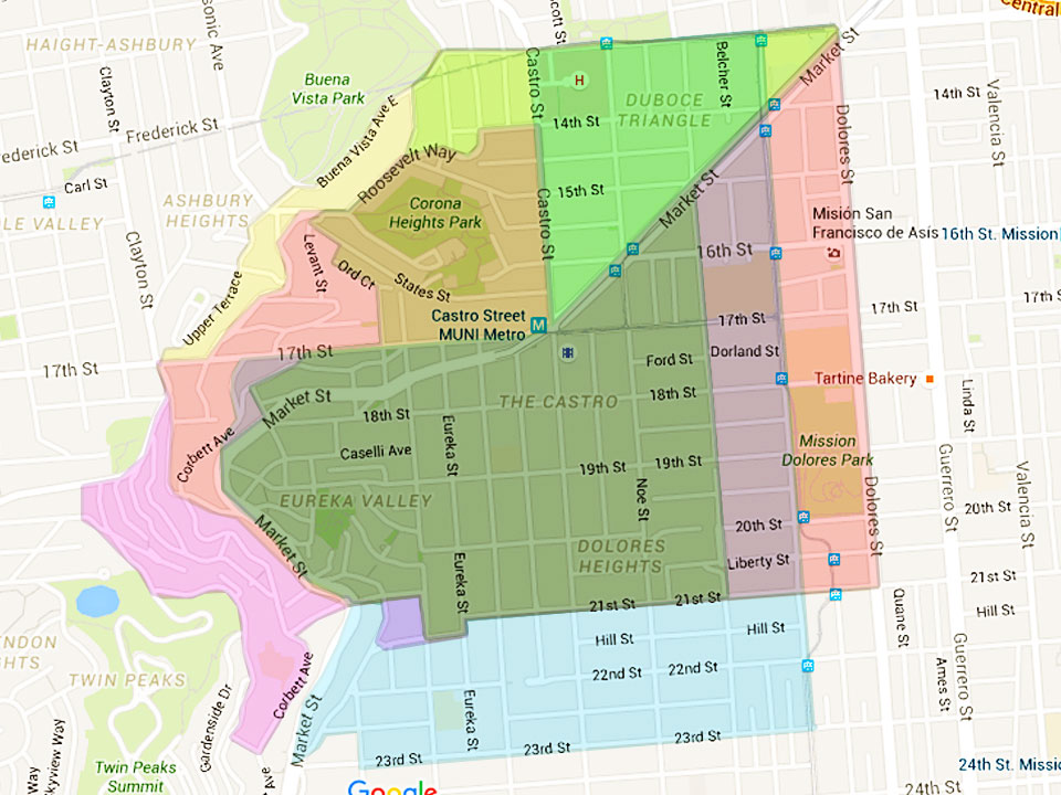 Where Does The Castro Start And End? Depends On Who You Ask ... on oakland neighborhood map, north county san diego neighborhood map, la county neighborhood map, manhattan neighborhood map, los angeles neighborhood map, old san juan neighborhood map, santa rosa neighborhood map, napa neighborhood map, staten island neighborhood map, bay area neighborhood map, sfsu neighborhood map, glendale neighborhood map, greenville neighborhood map, sunnyvale neighborhood map, new york neighborhood map, california neighborhood map, oak park neighborhood map, washington dc neighborhood map, berkeley neighborhood map, chicago neighborhood map,