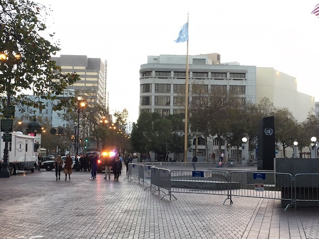 Clean un plaza with police lights