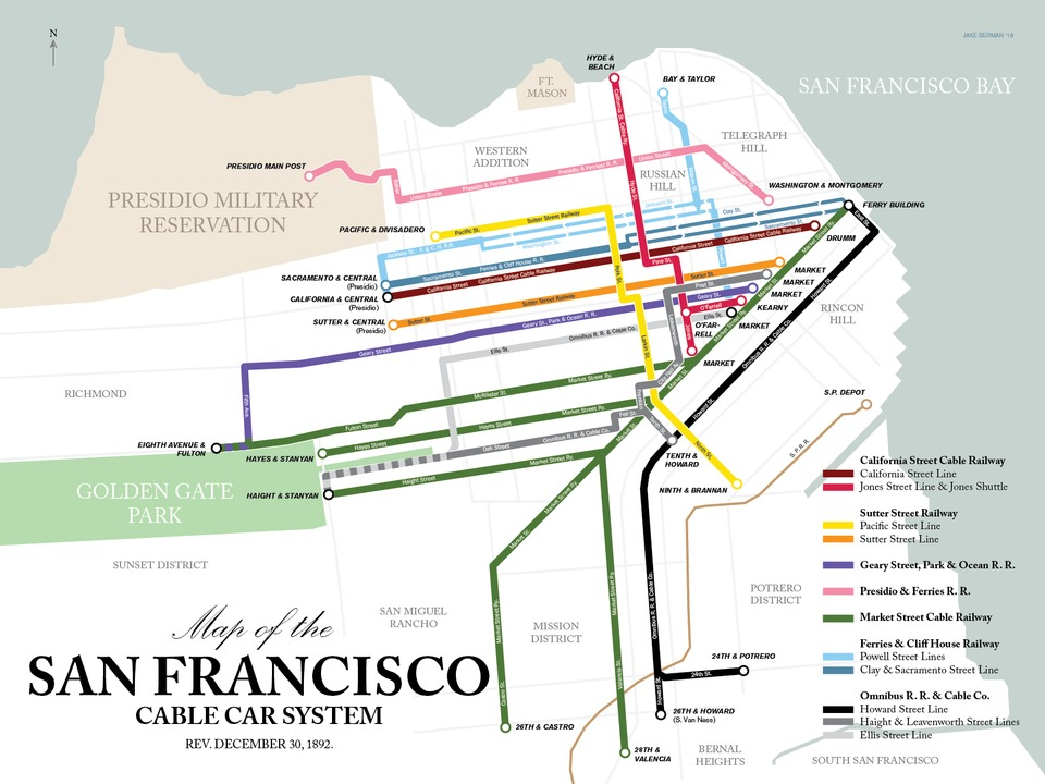 Cable Car San Francisco Map Transit obsessed hobbyist debuts newest map: San Francisco's cable