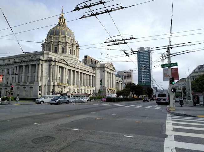 Van ness outside city hall plus historic light pole