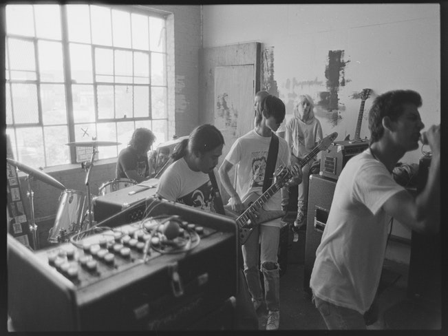 Corrupted morals performs at new method warehouse in oakland   1985   photo by murray bowles