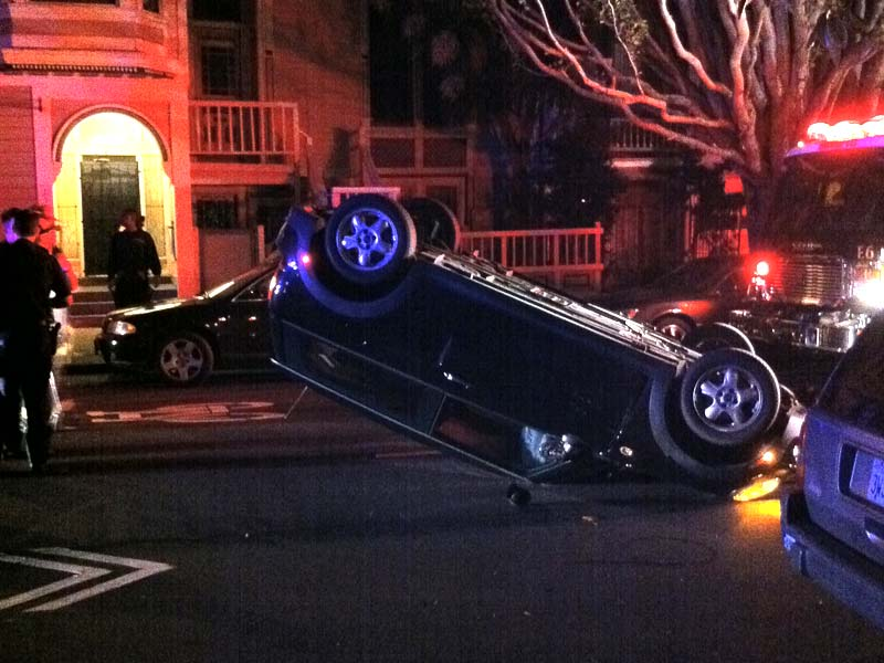 Bizarre Overnight Accident Leaves Mini Cooper Flipped On Steiner