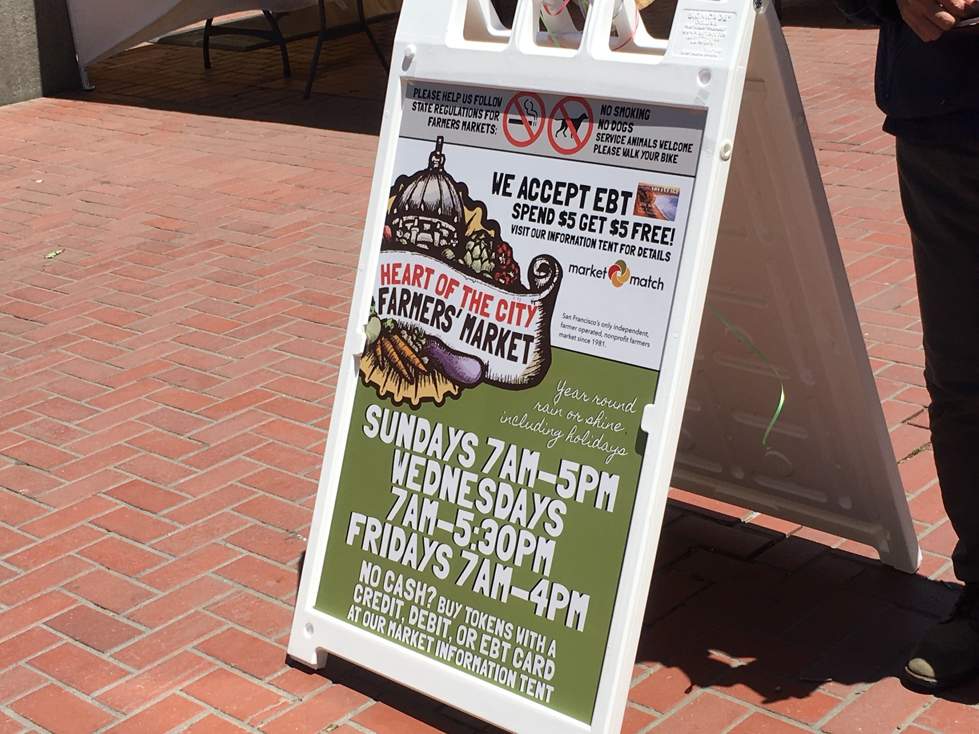 EBT and other food assistance is welcome at the farmers market, which provides matching funds.