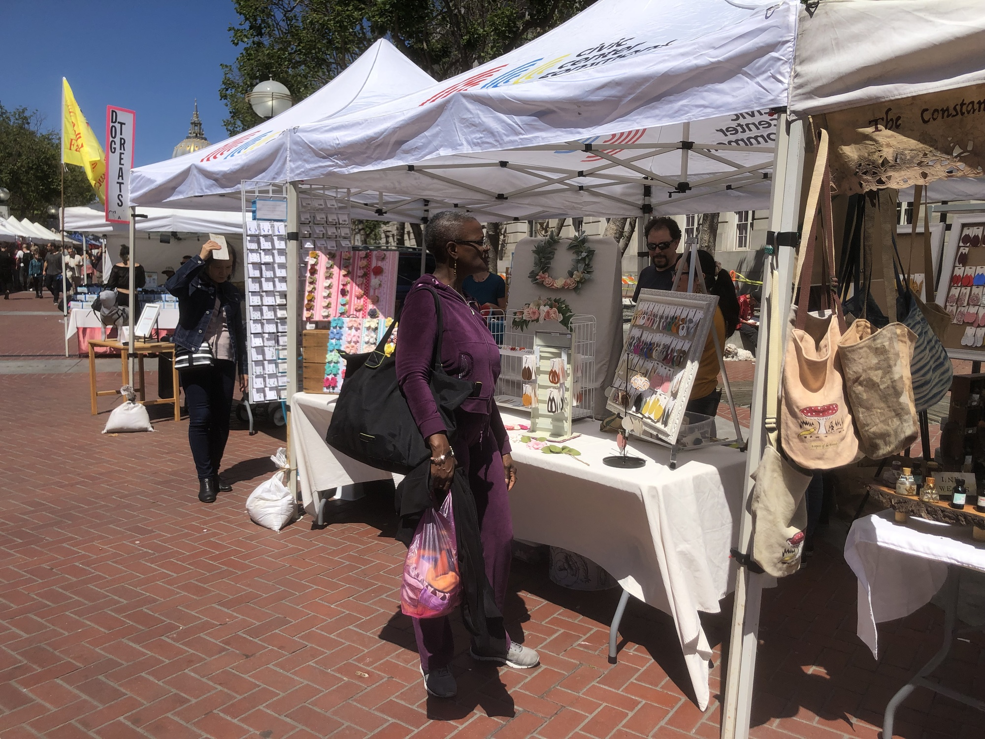Shoppers visiting SF Etsy vendors at the first Friday market on June 7.