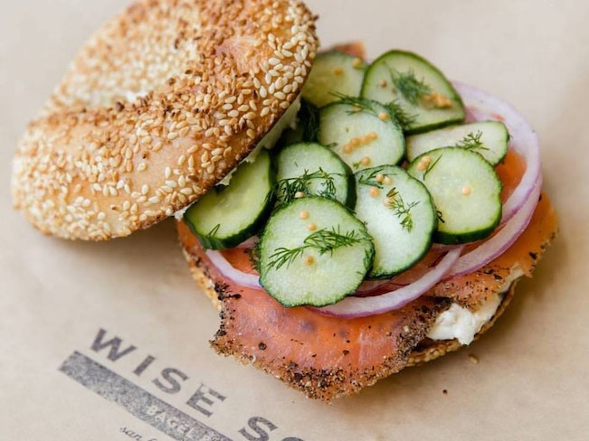 Wise sons lox bagel sandwich