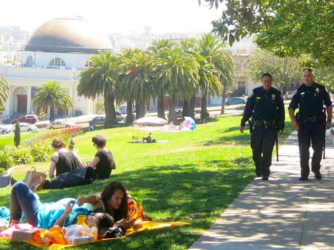 Police patrolling dolores park