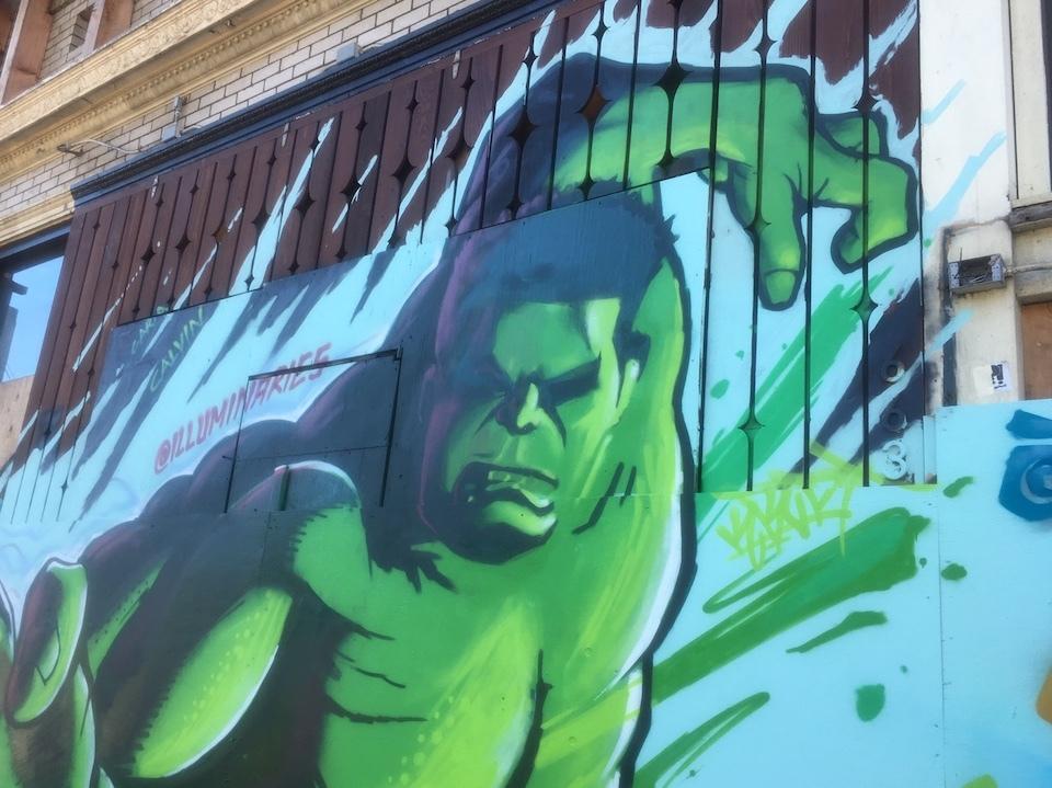 Graffiti murals of Marvel heroes revive North Beach building