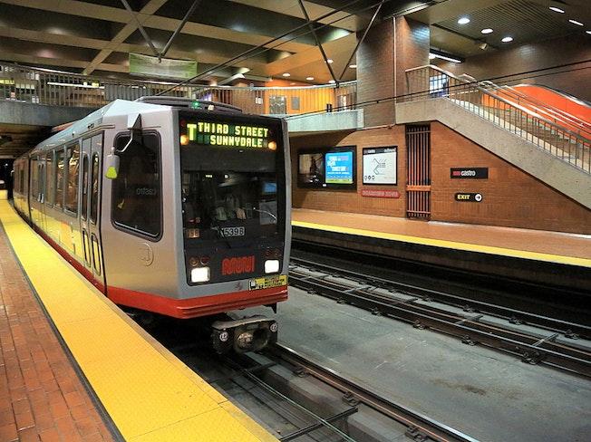 Inbound t third street train at castro station  august 2013