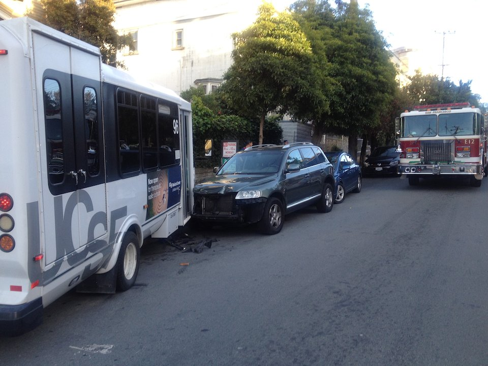 UCSF Shuttle Crosses Lane, Hits Parked Cars After Driver Reportedly